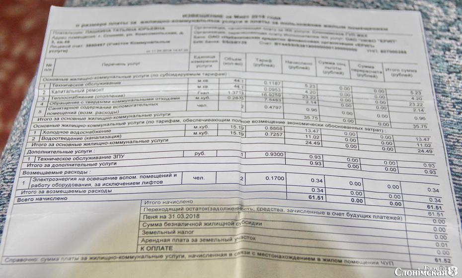 Извещение об оплате коммунальных услуг