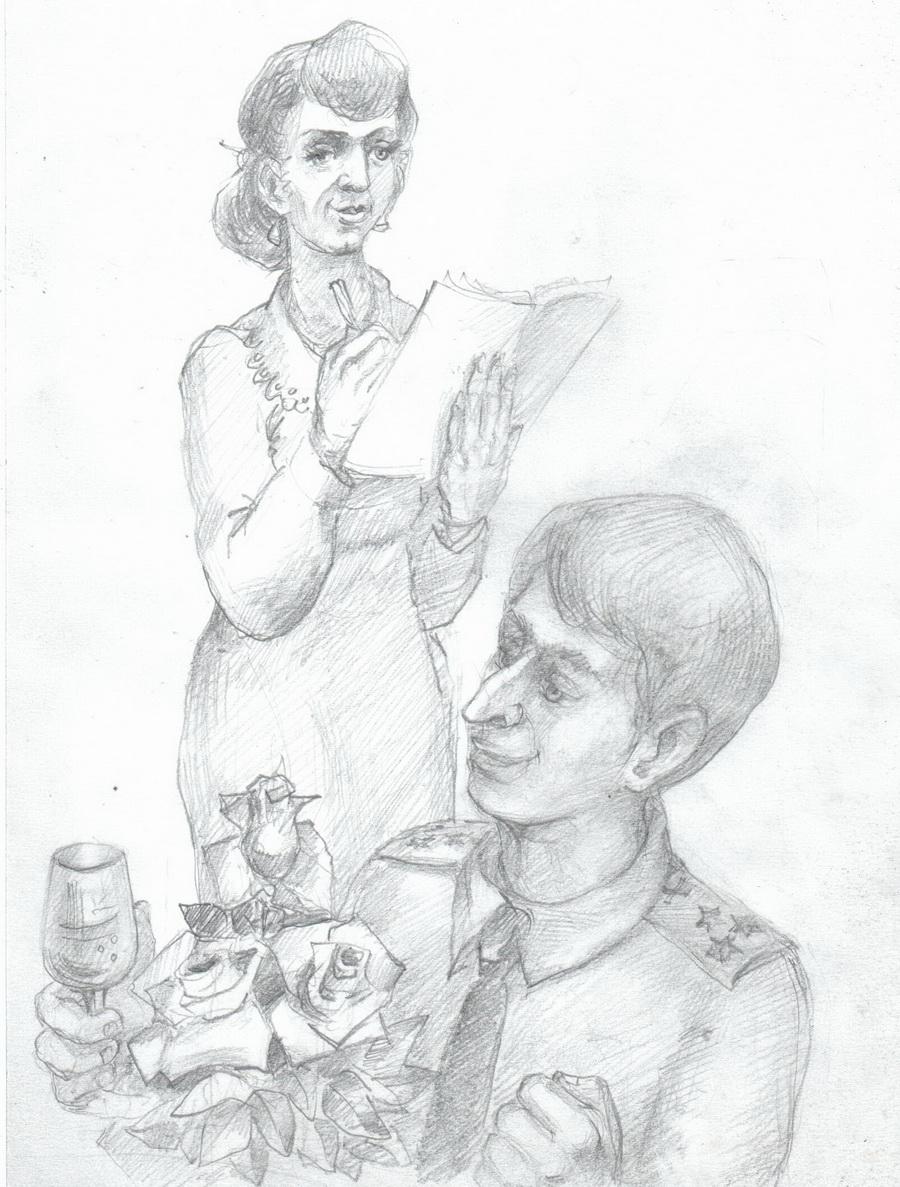 женщина,мужчина с букетом,графический рисунок
