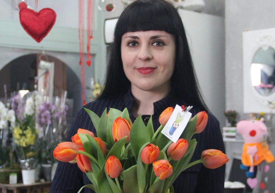 цветы,тюльпаны,девушка