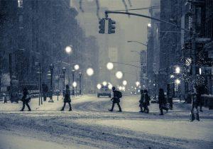 зима, в городе