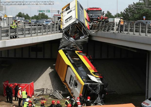 автобус в варшаве упал с моста