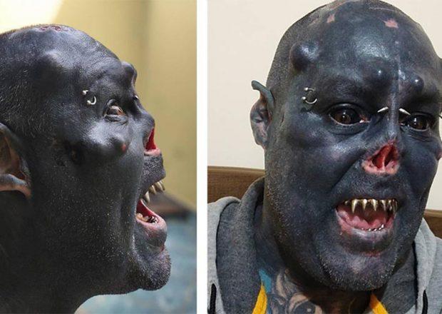 Бразильский татуировщик превратил себя в «орка»